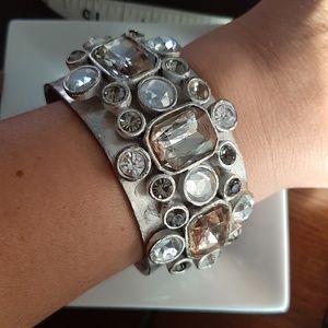 Silver Beaded Bracelet Cuff
